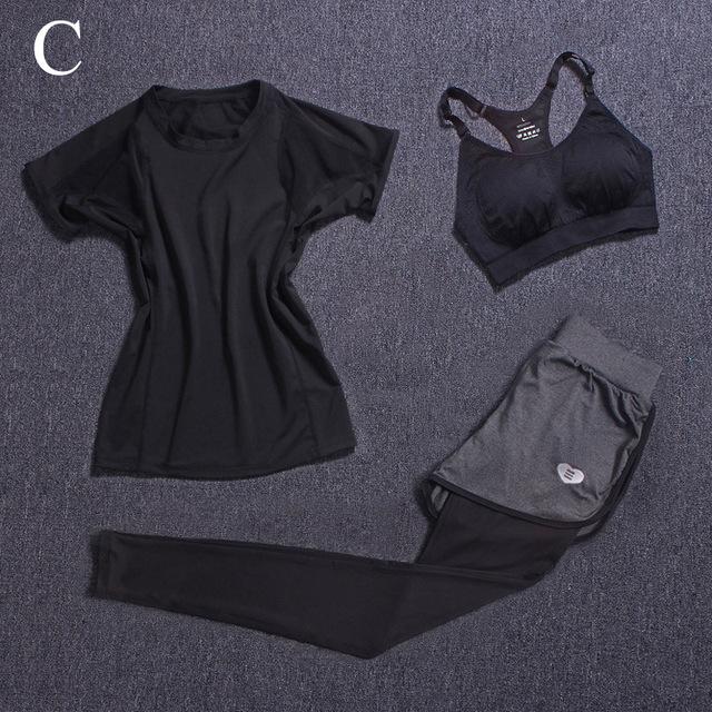 Women's Fitness Sets 3 Piece (T-shirt+Bra Vests+Pants) Breathable
