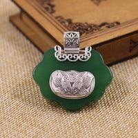 925 silver inlay golden born under a lucky star Green Pendant