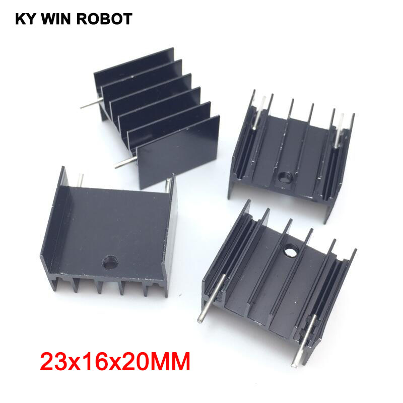 5pcs Black Aluminium TO-220 23x16x20mm Heatsink TO 220 Heat Sink Transistor Radiator TO220 Cooler Cooling 23*16*20MM With 2pin