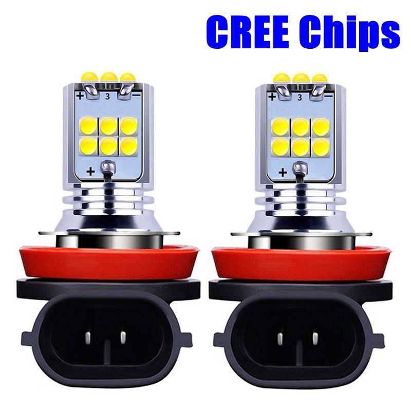 2PCS H8 H11 H10 H16 5202 PSX24W 9006 HB4 9005 HB3 PY24W P13W 1800LM LED Bulbs Car Fog Lights Auto DRL Lamps White Yellow 12V 24V