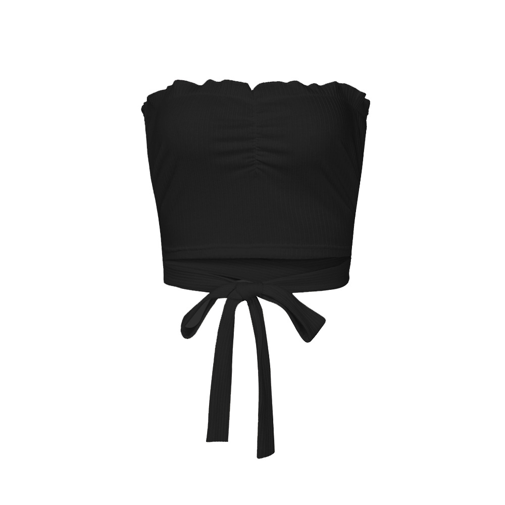 Women New Elastic Ruched Strapless Tube Top Wrap Bandeau Cross Straps Slim Top Wrap Chest Sexy Short Vest in Tank Tops from Women 39 s Clothing
