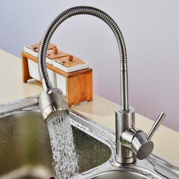 304 Stainless Steel 360 Degree Rotation Hot and Cold Kitchen Faucet Single Hole Single Kitchen Faucet YM-1