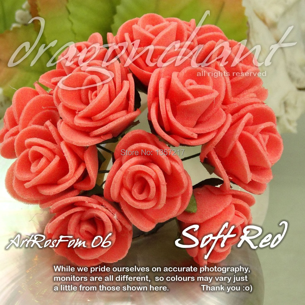 Wholesale Size 20mm Head Solid Soft Red Color PE Rose Foam Flower ...