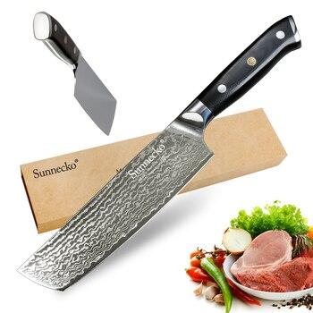 Cuchillo de cocina Cleaver de 7 pulgadas Sunnecko, cuchillos de cocina de 73 capas, Damasco japonés VG10, hoja afilada de acero, herramientas de corte con mango G10