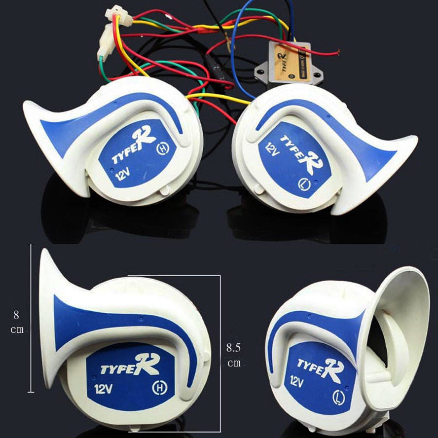 2x New 12V Loud Ari Snail Electric Horn Audio Radio Speaker Motorcycle 110DB Level Sounds Tone Trunk Car Styling Accessories