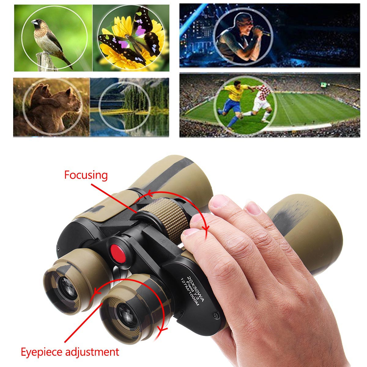 20x50 High Clarity Binoculars Powerful Military binocular For Outdoor Hunting Optical glass Hd Telescope low light Night Vision 2