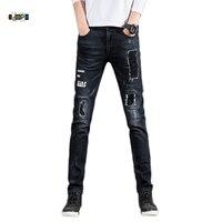 Idopy męskie Mody Zgrywanie Zniszczone Drukowane Retro Vintage Udzielenie Elastyczne Skinny Jeans Z Poprawek Dla Człowieka