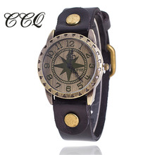 2017 CCQ Classic Fashion Wrist Watch Vintage Star Dial Real Leather-based Watch Girls Quartz Watch Reloj Mujer Reward 1309