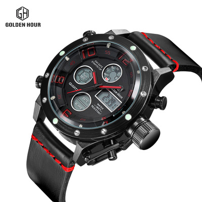 relogio masculino Sport Watches Men Luxury Brand Waterproof Leather Analog Quartz Digital Watch Men LED Army Military Watch Hot 5pcs hair ornaments rhinestone claw clip headwear accessories crystal metal hair claw clip for women jewelry crab claw hair clip