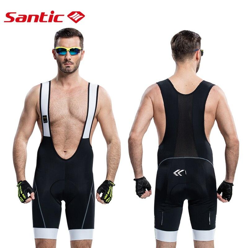 Santic Men Cycling Padded Bib Shorts 4D Cushion Padding Cycling Bottom Bib Shorts Cycling Bicycle Bike Bib Shorts Pad 5031/5014