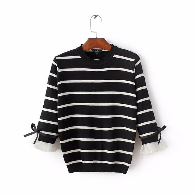 Women black white striped knitted sweaters bow design three quarter sleeve slim pullover female autumn casual tops SW1006