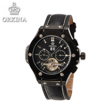 Orkina Watch Luxury Brand Black Leather Mechanical Men's Watches Auto Date Automatic Wrist Watch with Box
