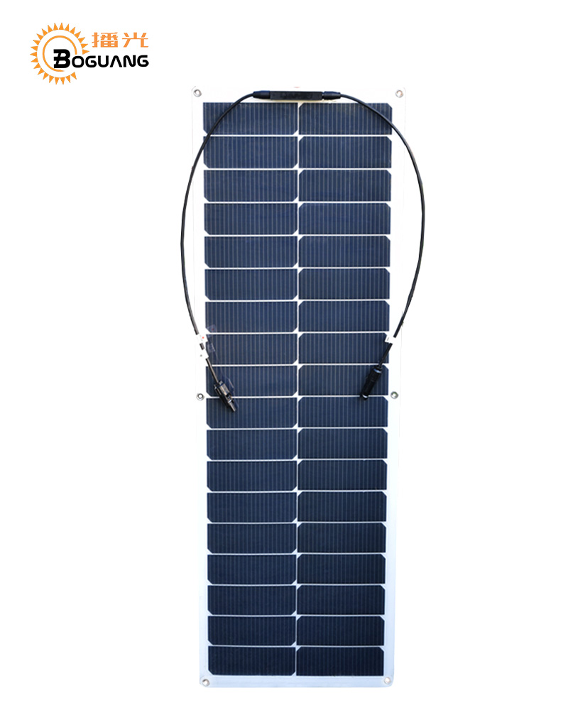 BOGUANG flexible solar panel 50w High efficiency monocrystalline silicon cell PV module for 12v battery car RV yacht caravan sp 36 120w 12v semi flexible monocrystalline solar panel waterproof high conversion efficiency for rv boat car 1 5m cable