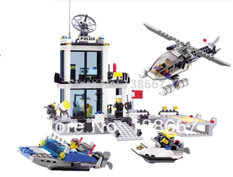 learning & education Kazi 6726 Maritime Police Station Building Block Set 536pcs  Bricks Boys Toys Birthday gift