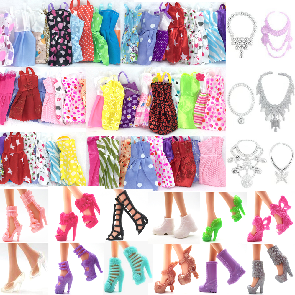 NK 28 Items/Lot=10 Pcs Mix Sorts Beautiful Party Clothes Fashion Dress +6 Pcs Plastic Necklace +12 Pair Shoes For Barbie Doll