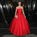 SoAyle 67th Grace Cannes selena gomez Celebrity Dress A Line Strapless Sleeveless Draped Bow Red Satin Floor Length Design