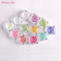 12 Pot Set 3D Color Intrigue Multicolor Dot Pattern Nail Art Paillette Glitter Stickers Shiny Nail