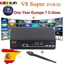 V8 Super Nova DVB-S/S2 Satellite TV Receiver with USB WIFI H.264 HD 1080P Support PowerVu Biss Key 7-Clines Newcamd Youtube