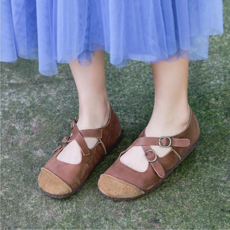 La Chaussures Quatre Fait Confortable Vintage Peau De Main Vache À Saisons Avec Unique Plat Femmes Coffee gris Cuir Couche Casual En Top 5xPqqF0rw8