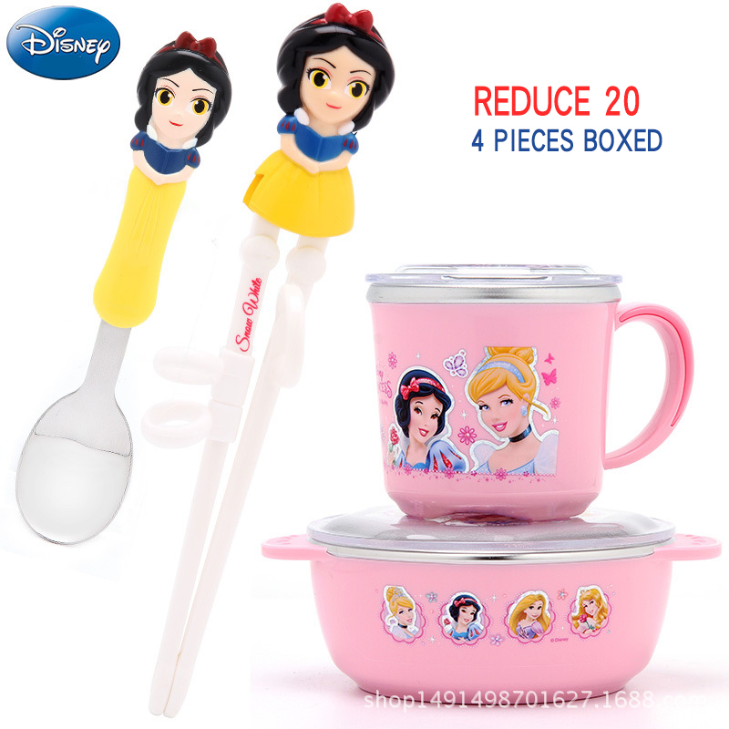 все цены на Disney cute cartoon animation figure children's tableware to learn chopsticks spoon milk cup stainless steel meal baby four suit