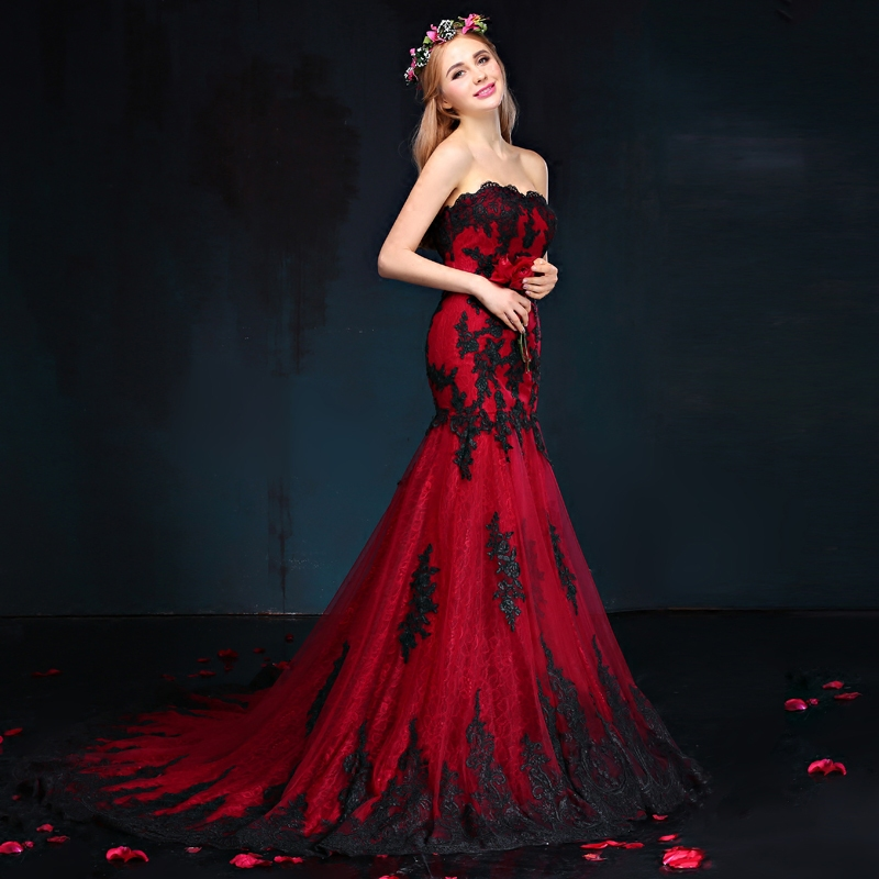 Red And Black Wedding Dresses: Wine Red Black Lace Wedding Dress 2017 New Elegant Tube