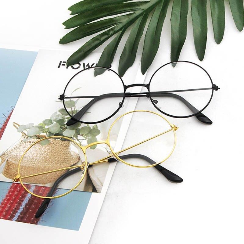 Round Plain Clear Glasses Women Eyewear Frames Ultra Light Metal Decoration Transparent Prescription Optical Spectacle Frames BH