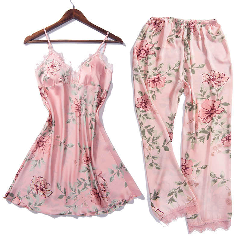5 PCS Cami & מכנסיים & נייטי & מכנסיים & חלוק תחרה סקסי הלבשה תחתונה Nightwear פיג 'מה סאטן שינה סט Nightwear חלוק הלבשת Pyjama
