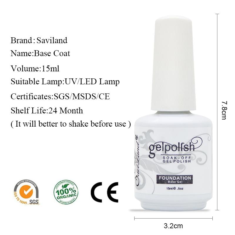 Saviland 1pcs Top Coat Base Coat Non Cleansing Gel Nail Polish 15ml ...