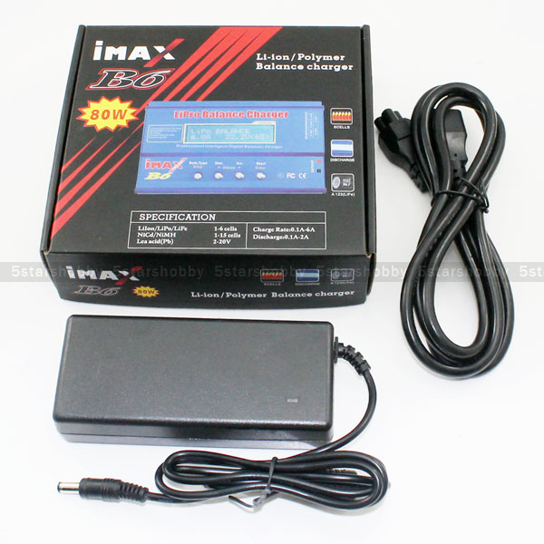 IMAX B6 80W Li-Po NiMh Li-ion Battery Balance Charger + 15V 6A AC Power Adapter