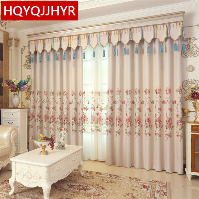 European Style Luxury Pastoral Beige Big Flower Embroidery Blackout Curtains For Living Room Kitchen