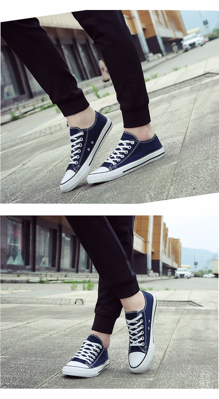 Hellozebra Men Casual Canvas Shoes Classical Lace Up Solid Flats Breathable Board Soft Leather Students Shoes 2016 Autumn New  (25)