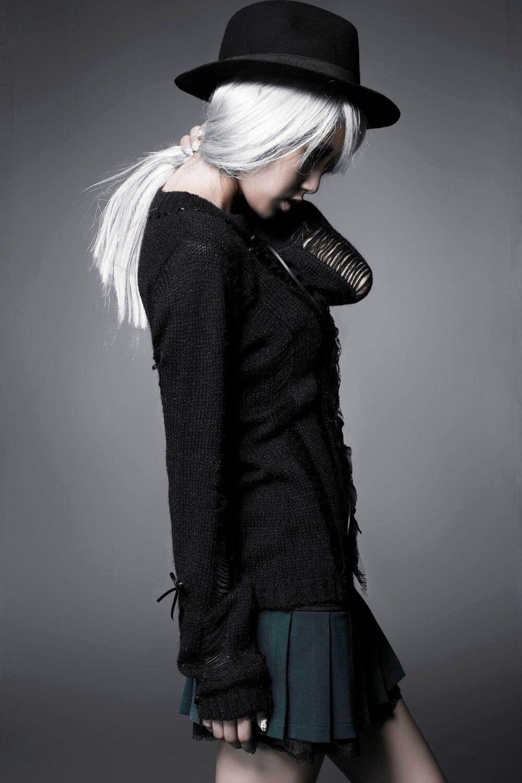 Steampunk Femme Évider Pulls Punk Doux Longues À Manches Lâche Blouse Vêtements Chandail Noir Gothique Tops Trous Tricots AT7tqwn