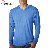 Phanteen Long Sleeve Man Solid T Shirts Hooded Casual Spring Autumn T Shirt American Style Pullovers