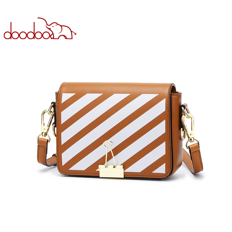 DOODOO Brand Women Bag Female Shoulder Crossbody Bags Ladies Artificial Leather 2018 Small 3 Color Fashion Stripe Messenger Bags doodoo brand fashion women bag female shoulder crossbody bags ladies artificial leather tassel new small 5 colors messenger bags