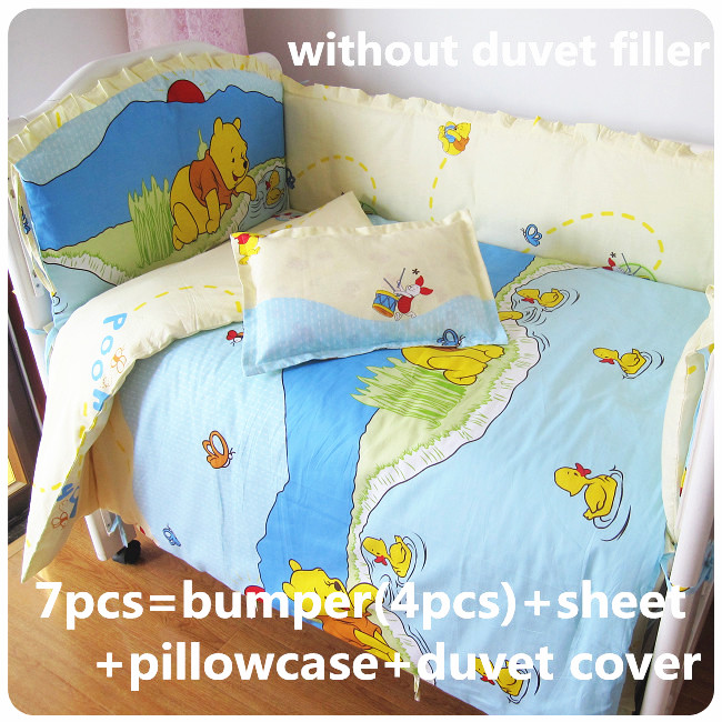 Discount! 6/7pcs baby bedding set 100% cotton crib baby cot sets baby bed bumper,120*60/120*70cm discount 6 7pcs cartoon baby cot bedding sets baby bumper bedding set of baby crib and cot free shipping 120 60 120 70cm