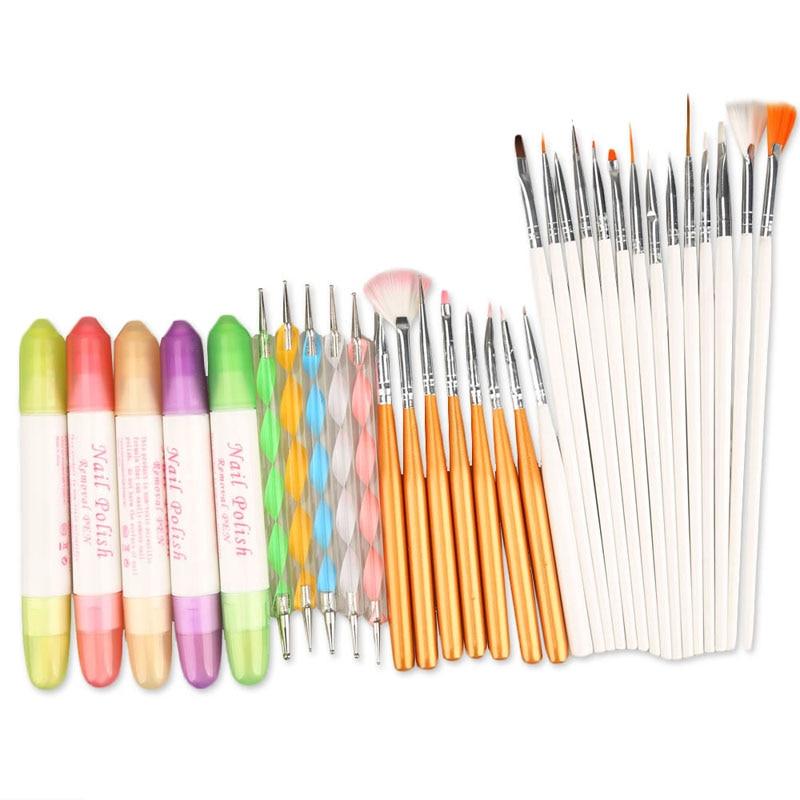 32pcs Nail Art Design Tool Set Dotting Tools Painting Brushes Nail Polish Removal Pen Nail Art