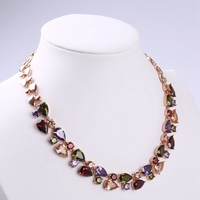 Sparkling Colorful Necklace Chain Wedding Party Jewelry Rose Gold Filled Heart Choker Necklace Womens Gift