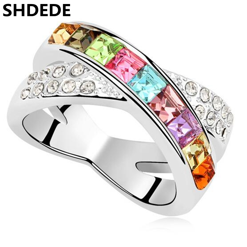Luxurious Ring For Women Charm Jewelry Crystal From Swarovski Wedding Engagement Ring Birthday