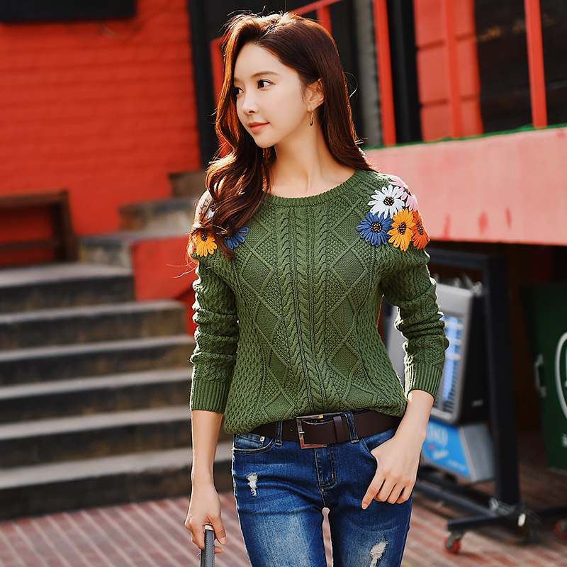 Dabuwawa Women Winter Elegant Embroidered Sweater New Army Green Full Sleeve Flower Knitted Sweaters Pullovers Top