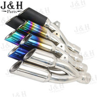 Modified 51mm Inlet Double Motorcycle Exhaust Muffler Pipe Stainless Steel