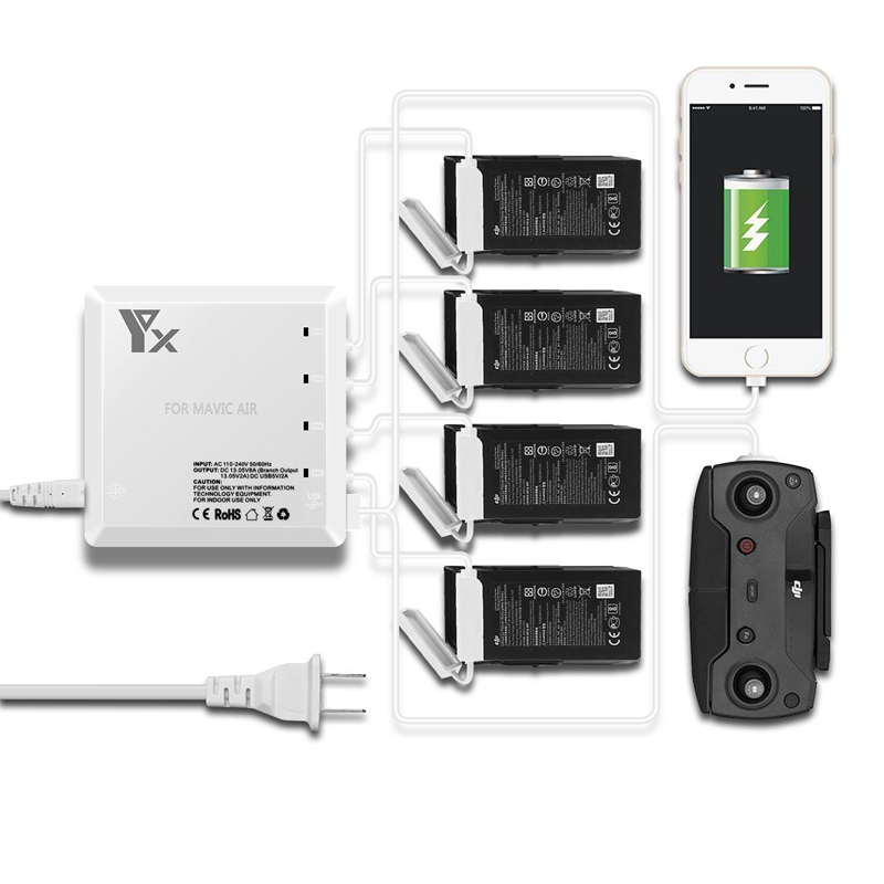 DJI Mavic air charger 6 in 1 Universal Multi Battery Charging Hub Intelligent Battery Charger For DJI Mavic Air Drone dji spark drone 3 in 1 car charger battery charging