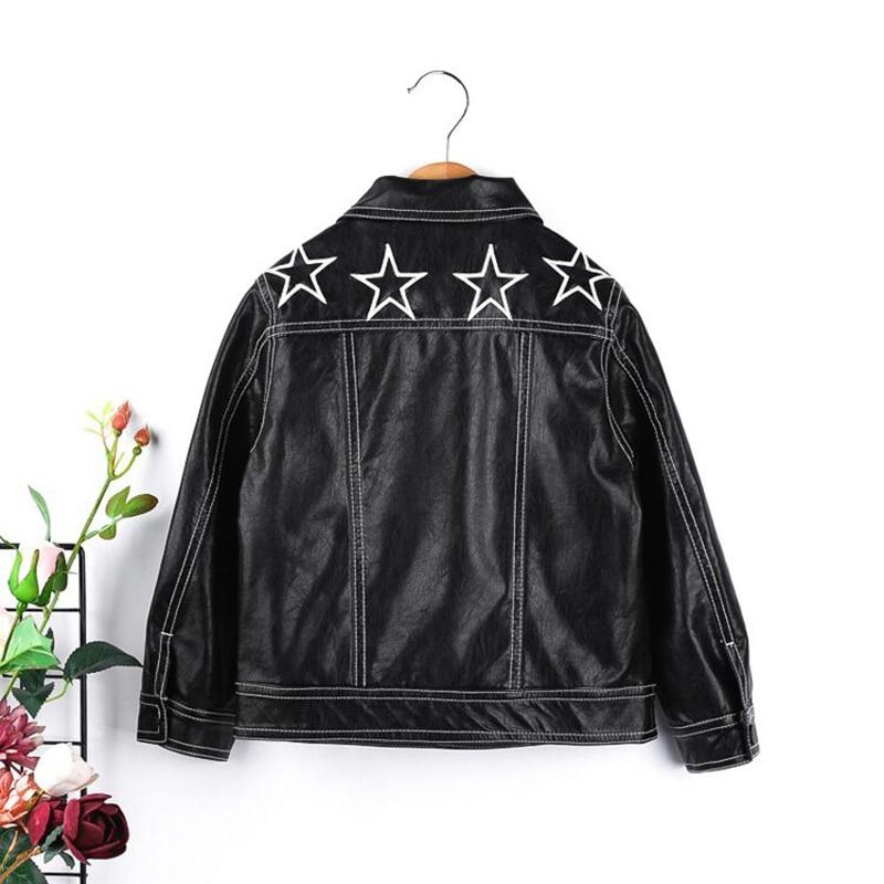 Кожаная куртка для маленьких мальчиков Обувь для девочек куртка из искусственной кожи звезда Вышивка детская верхняя одежда весенняя курт...