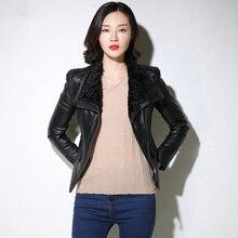Genuine Leather Jacket Autumn coats tops Streetwear lambswool neck warm Women Black Real Leather Jacket