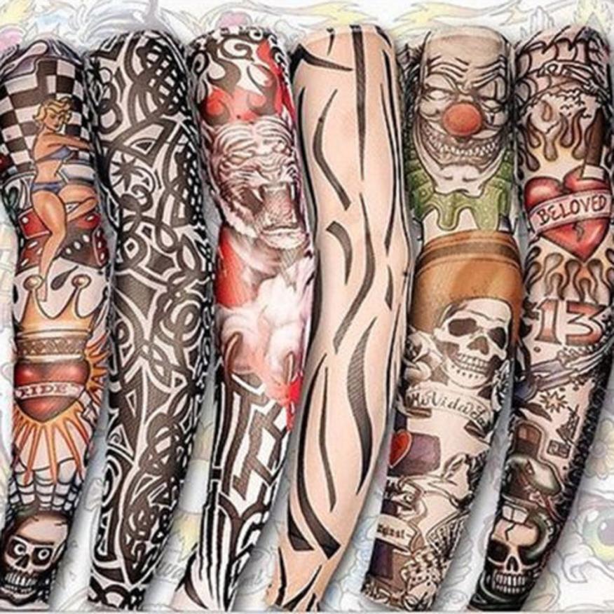 6 шт. Новый нейлон Эластичный Поддельные рукава временное тату Средства ухода за кожей ARM Чулки для женщин татуировку для прохладных Для мужчин Для женщин доставка ju143