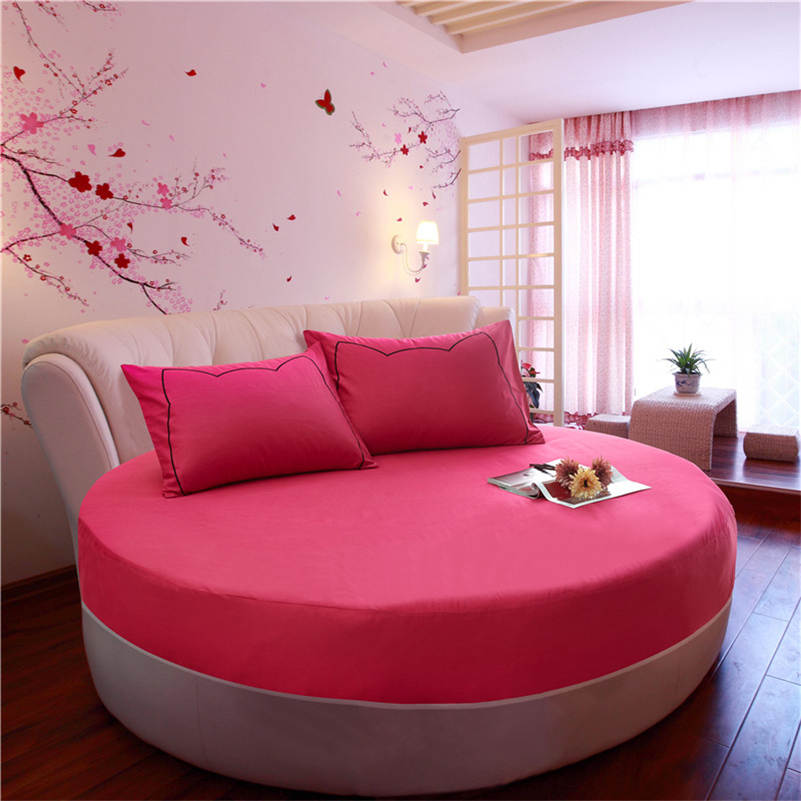 High Quality Solid Color 100 Cotton Round Fitted Sheet
