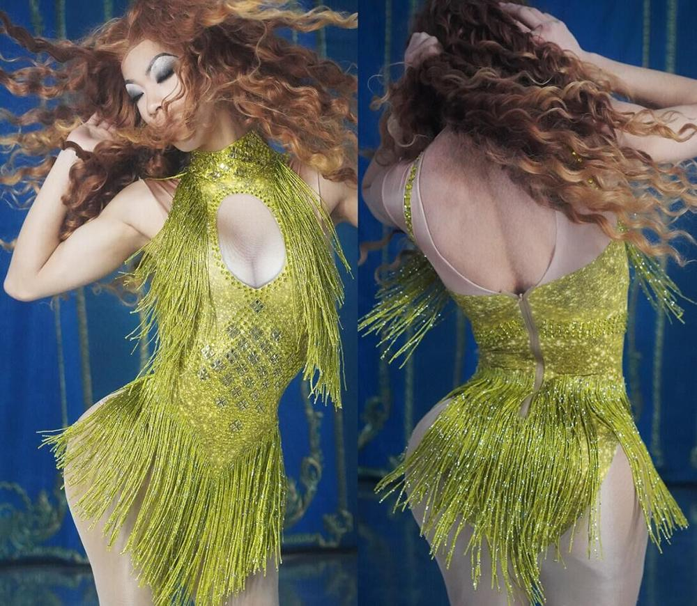 Image 5 - 4 Colors Sparkly Rhinestones Tassel Leotard Nightclub Dance DS Show Stage Wear Stretch Bodysuit Party Female Singer Outfit-in Chinese Folk Dance from Novelty & Special Use