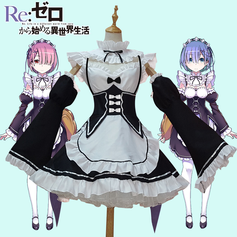 Ram/Rem Cosplay Re:zero Kara Hajimeru Isekai Seikatsu Re Life In A Different World Kawaii Sisters  Costume Maid Servant Dress(China)