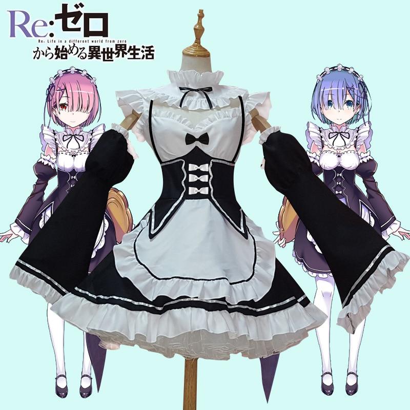 Ram/Rem Cosplay Re:zero Kara Hajimeru Isekai Seikatsu Re Life In a Different World Kawaii Sisters Costume Maid Servant Dress