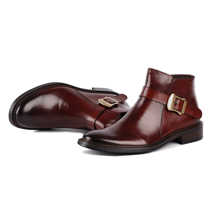 Winter British Style Genuine Leather Mens Martin Ankle Boots Round Toe Zip Handmade Cowboy Outdoor Formal Dress Man Shoes YMX72