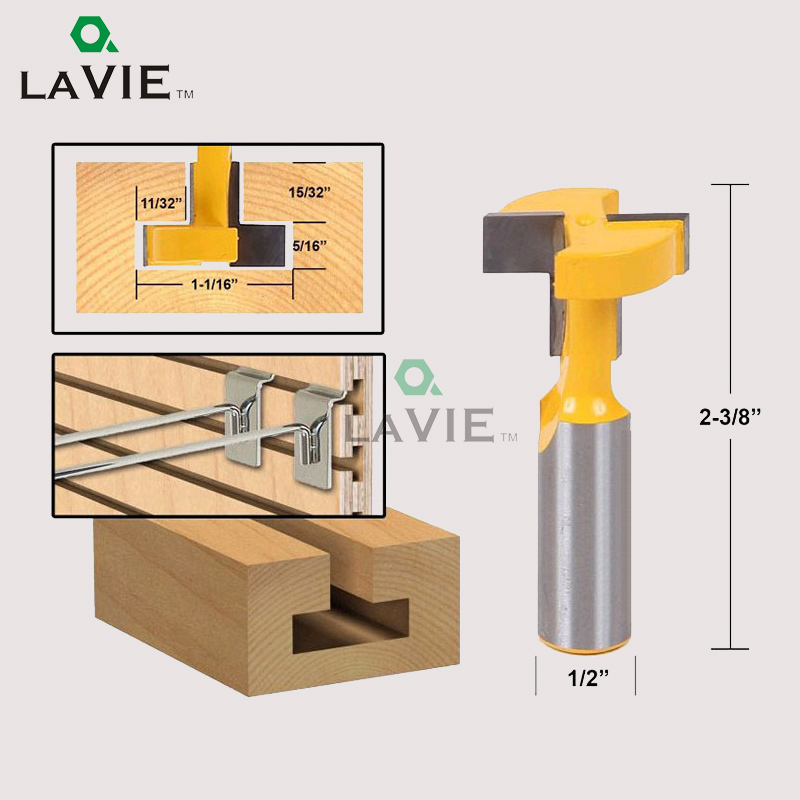 LA VIE 1/2 Inch Shank T Slot Router Bit Carbide Tip Straight Wood Milling Cutter Woodworking Drill Bit MC03003